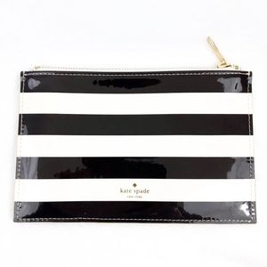 Kate Spade Black and White Striped Pencil Pouch